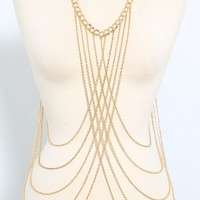 Metallic Criss Cross Body Chain | MakeMeChic.com