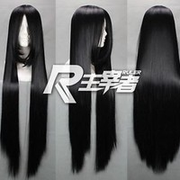 New Fashion Long Black Cosplay Straight Wig 80cm