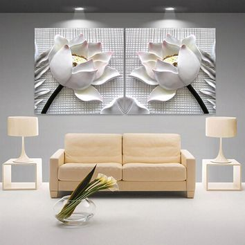2 Pieces Three-dimensional Lotus Canvas Painting Africa Vintage Picture Canvas Art Modern Paintings For Living Room