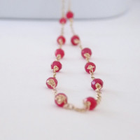 VALENTINE'S DAY, Gold Ruby Necklace, Dainty Gold Necklace Delicate Dangle Gemstone Handmade Wire Wrapped Necklace Delicate