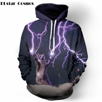 PLstar Cosmos Thundercat Sweatshirt cat lightning thunder 3d hoodie Women Men Sweatshirts harajuku hooded Casual Sweats