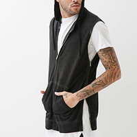 Faded Zippered Sleeveless Hoodie