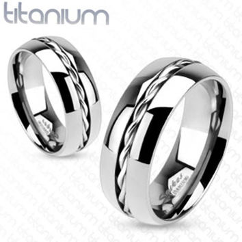 8mm Rope Twist Inlay Center Wedding Band Ring Solid Titanium Men's Ring