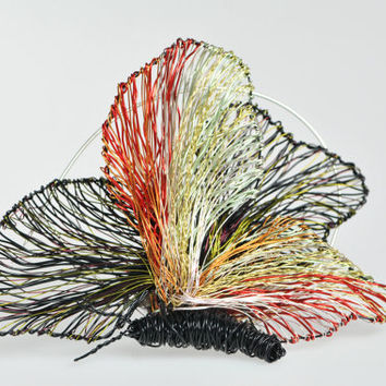 Black butterfly brooch Butterfly jewelry Wire sculpture art brooch Statement brooch Contemporary jewelry Rainbow Butterfly Womens jewelry
