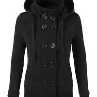 LE3NO Womens Fleece Double Breasted Pea Coat with Hood (CLEARANCE)