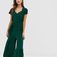 ASOS DESIGN button front frill sleeve jumpsuit with cut out back | ASOS
