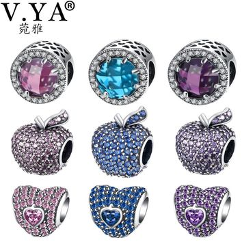 V.YA 100% 925 Sterling Silver Charms Beads fit for Pandora Bangle Bracelets for Women Men Valentine's Day Bead for DIY Jewelry