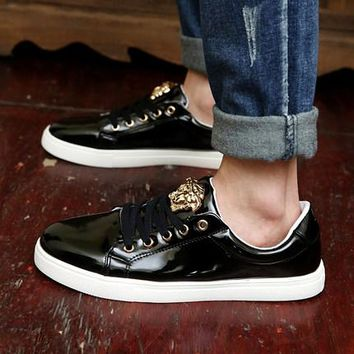 Versace Trending Women Men Casual Low Help Flat Running Sports Shoes Sneakers Black
