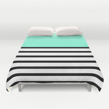 Tiffany Black and White Stripes Pattern Duvet Cover by RexLambo