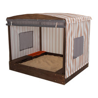 KidKraft Cabana Sandbox - Oatmeal & White Stripes - 00504