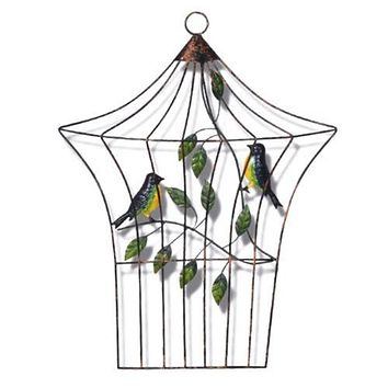 Modern Iron Bird Cage Wall Hanging Decoration   E