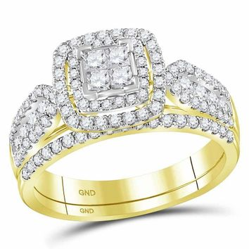14kt Yellow Gold Women's Princess Diamond Cluster Halo Bridal Wedding Engagement Ring Band Set 1.00 Cttw - FREE Shipping (US/CAN)