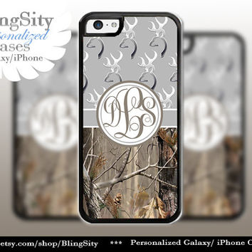 Monogram Iphone 5C case Browning Gray Grey iPhone 5s iPhone 4 case Ipod 4 5 case Real Tree Camo Deer Personalized Country Inspired Girl