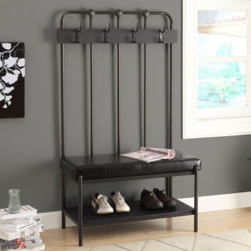 "Charcoal Grey Metal 60""H Hall Entry Bench"