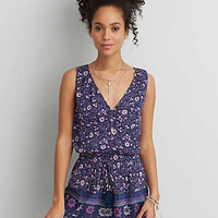 AEO PATTERN SLEEVELESS WRAP ROMPER