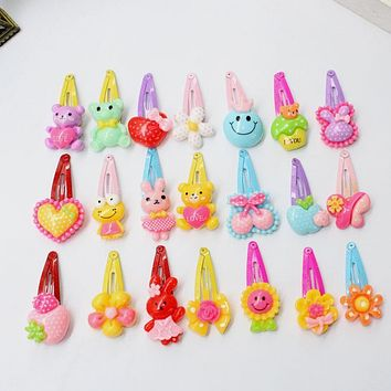Small BB Hairpin Cartoon Flower Candy Color Hair Clips Girls' Hair Ornaments Kids BB Hairpin