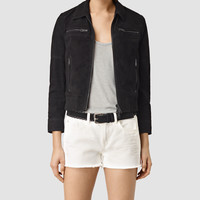 ALLSAINTS UK: Womens Hopkins Leather Bomber Jacket (Black)