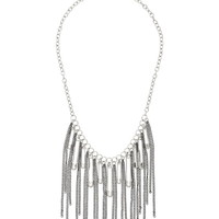 Safety Pin Charm And Chain Fringe Necklace - Mixed Metal