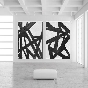 Large minimal painting on canvas handmade Original Acrylic Painting black and white Modern large wall decor contemporary art