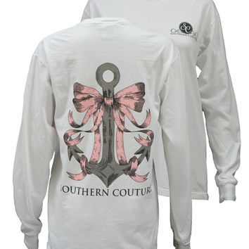 Southern Couture Preppy Anchor Bow Comfort Colors White Girlie Long Sleeve Bright T Shirt