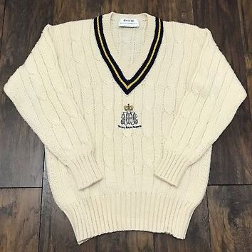 Vintage Henley Royal Regatta Hand Framed Knitwear Cable Knit Sweater Mens Medium