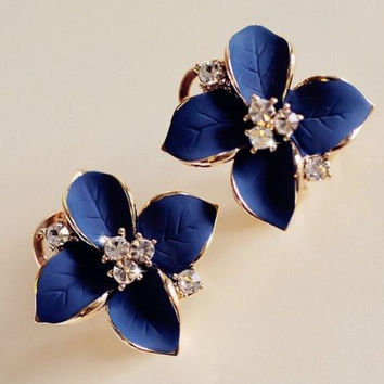 Sensual Blue Flower Charm Crystal Ear Stud Earrings