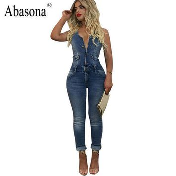 Abasona High Quality Women Jumpsuit Sexy Halter Backless Bodycon Denim Jumpsuit Button Skinny Casual Blue Jeans Overalls Romper