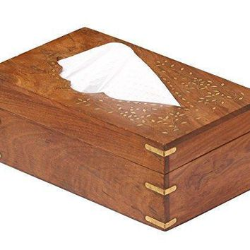 Benzara Rectangular Rosewood Tissue Box Cover with Brass Inlays