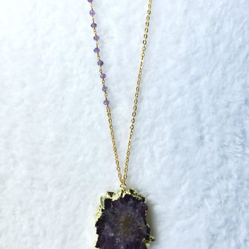 Amethyst Necklace, Stalactite, Geode Slice, Agate, Bohemian, Boho, Trendy Necklace, Solar Quartz, Rosary chain, Purple gemstone, Layering