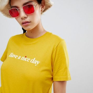 New Look Have A Nice Day Slogan Tee at asos.com