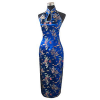 Navy Blue Traditional Chinese Halter Cheongsam Long Qipao Backless Costume Dress Size S M L XL XXL XXXL Mujeres Vestidos J3400