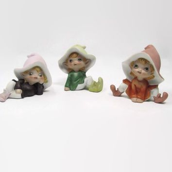 Vintage Elf Set by Homco Set of 3 Elves, Perfect for Terrarium or Garden Decor