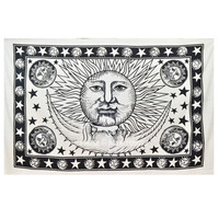 Small White  Black Sun Moon Wall Tapestry, Fringed Indian Tapestry Bedding on RoyalFurnish.com