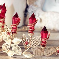 Royal Red Glam Queen Business Tiara in Gold and Faux Ruby Gems