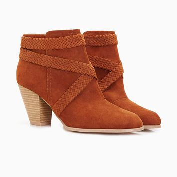 Braided Strap Wooden Heel Booties | Wet Seal