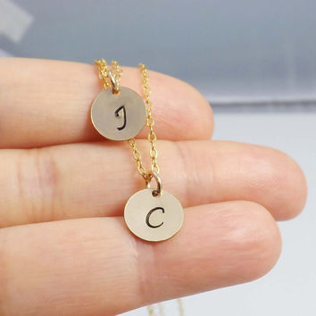 Double Strand Initial Necklace, Personalized Initial double necklace, initial necklace, personalized Gold Filled, Two Monogram Charms