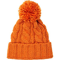 Orange chunky cable knit beanie hat