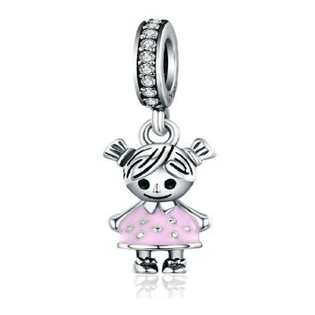 Sterling Silver Couple Little Girl Pendant