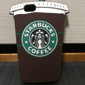 Brown Starbucks Silicone Coffee Cup Case for Iphone 5/5s/5c Iphone 6