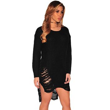 Chicloth Black Ripped Knit Long Sleeves Sweater
