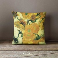 Van Gogh Sunflowers Decorative Throw Pillow Cover