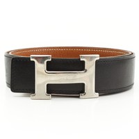 AUTHENTIC HERMES CONSTANCE H BELT G BLACK BROWN GRADE B USED -AT