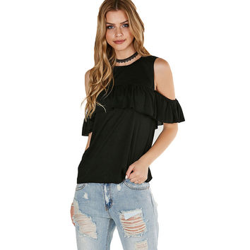 Fashion Frills Stitching Strapless Short Sleeve Solid Color T-Shirt Women Tops