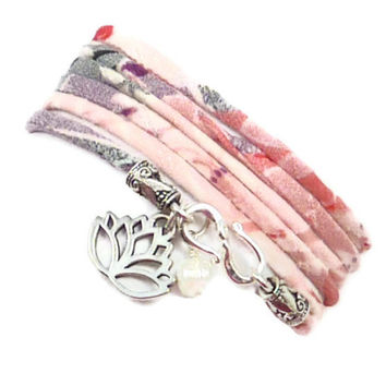 Wrap Bracelet with Lotus Flower Charm , yoga jewelry, yoga bracelet, Japanese Kimono
