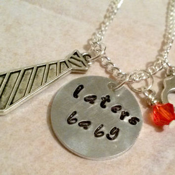 50 shades of grey hand stamped necklace quote Laters Baby