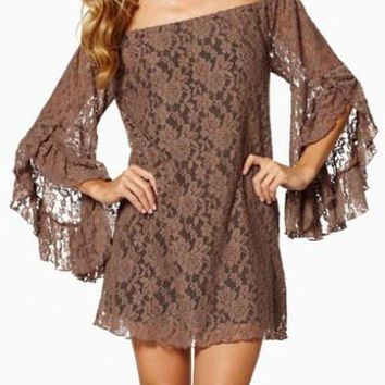 Khaki Slash Collar Lace Dress