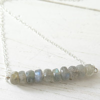 Labradorite Bar Necklace in Sterling Silver, Simple Layering Necklace, Delicate Jewelry, Classic Necklace, Minimalist Necklace, Boho Jewelry