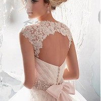 [199.99] Charming Tulle & Satin A-line Sweetheart Raised Waistline Wedding Dress - Dressilyme.com