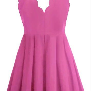 Model Moment Dress | Neon Pink Scalloped Mini Skater Dresses | RicketyRack.com