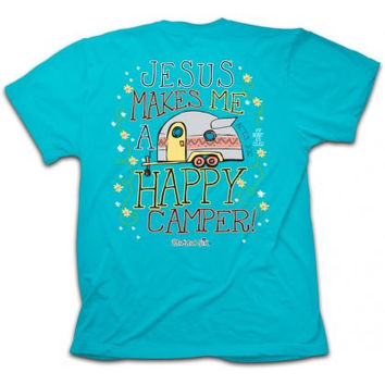 SALE Cherished Girl Jesus Makes me a Happy Camper Christian Girlie Bright T Shirt